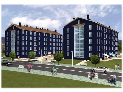 Residencial Alborada, dos edificio cuatro alturas, fachada caravista azul oscuro